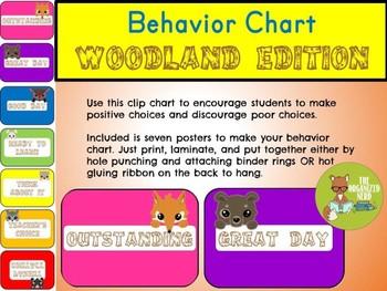 Behavior Clip Chart - Woodland Theme