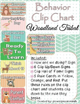 Behavior Clip Chart Woodland Tribal