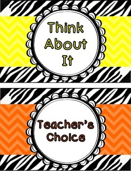 Behavior Clip Chart - Zebra Chevron Theme