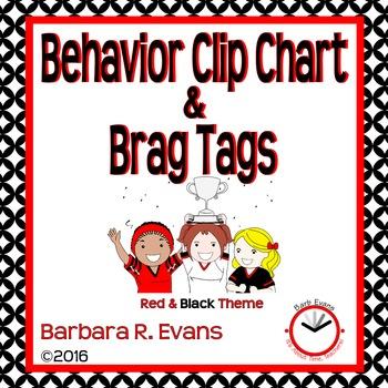 BEHAVIOR CLIP CHART & BRAG TAGS: Red & Black Edition