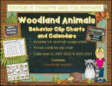 Behavior Clip Chart and Calendar Bundle Woodland Animals Theme 2018-19(editable)