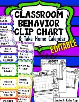 Behavior Clip Chart and Calendar - EDITABLE