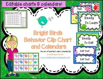 Behavior Clip Chart and Calendar with Bright Birds Bundle - Editable!