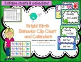 Behavior Clip Chart and Calendar with Bright Birds Bundle - Editable -2019-2020