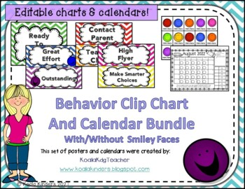 Behavior Clip Chart and Calendar with/without Smiley Faces Bundle - Editable!