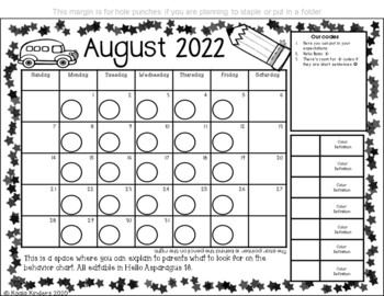 Behavior Clip Chart and Calendars with Wizards (editable)