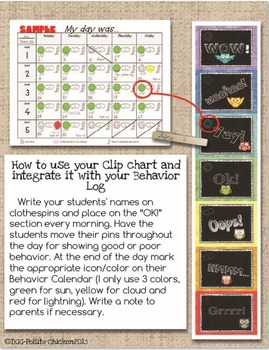 BUNDLE Behavior Clip Chart +Daily Behavior Log (5 weeks)- Owls (with or without)