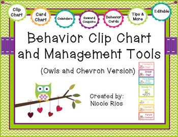Behavior Clip Chart and Management Tools - Owls & Chevron {Editable}
