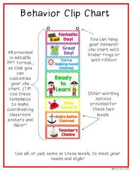 Behavior Clip Chart and Management Tools - Pirates & Chevron {Editable}