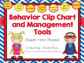Behavior Clip Chart and Management Tools - Super Heroes {Editable}