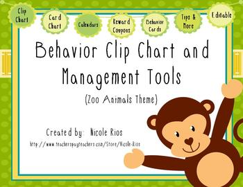 Behavior Clip Chart and Management Tools - Zoo Animals {Editable}