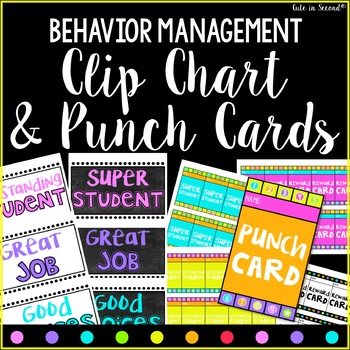 Behavior Clip Chart and Punch Cards Bright Chalkboard Theme