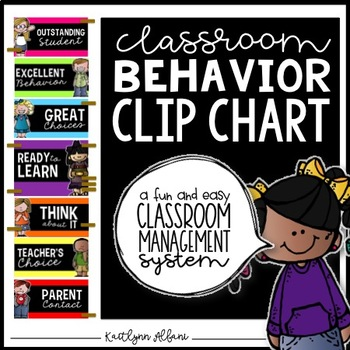 Behavior Clip Chart for Classroom Management - Black and Bright Theme