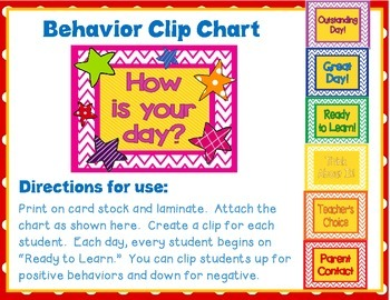 Back to School Clip Chart for Classroom Management