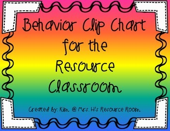 Behavior Clip Chart for Special Education Resource Room