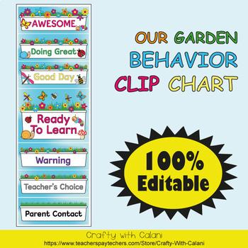 Behavior Clip Chart in Flower & Bugs Theme - 100% Editable