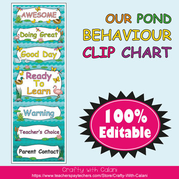 Behavior Clip Chart in Our Pond Theme - 100% Editable
