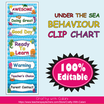 Behavior Clip Chart in Under The Sea Theme - 100% Editable
