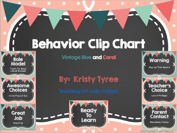 Behavior Clip Chart in Vintage Blue and Coral