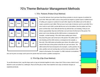 Behavior Clip Chart or Pocket Chart: Groovy 70's Themed