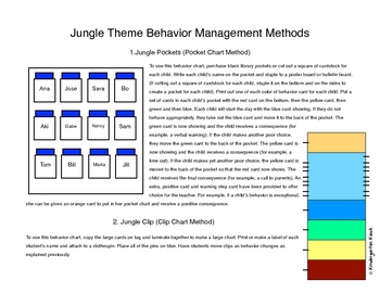 Behavior Clip Chart or Pocket Chart: Jungle Themed