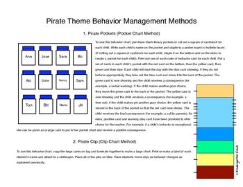 Behavior Clip Chart or Pocket Chart: Pirate Themed