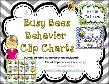 Behavior Clip Chart with Bees and Chevron