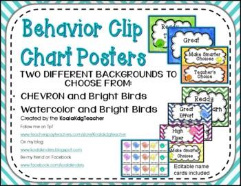 Behavior Clip Chart with Bright Birds and Chevron