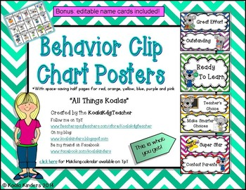 Behavior Clip Chart with Koalas and Chevron