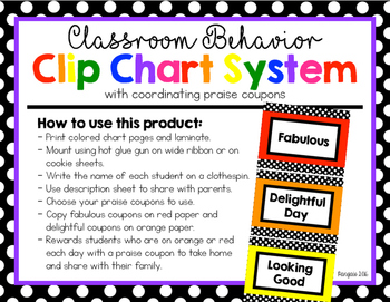 Behavior Clip Chart with Reward Coupons