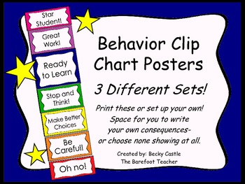 Behavior Clip Chart ~3 Different sets to choose from, bright, bold colors