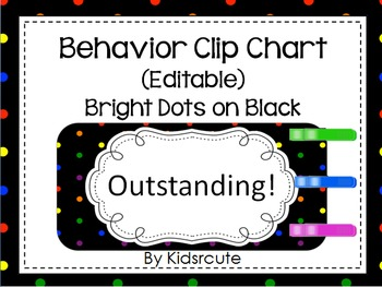 Behavior Clip Chart~Rainbow Bright Dots on Black~ Editable