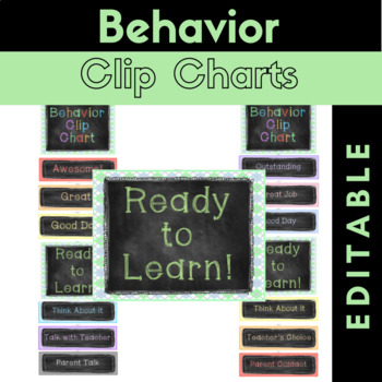 Behavior Clip Charts {Editable} Chalkboard Theme