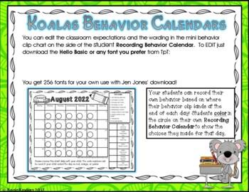 Behavior Clip Charts and Calendars with Koalas EDITABLE