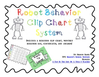 Robots Themed Behavior Clip Chart with Rewards