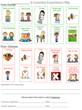 Behavior Clipchart Parent Slip