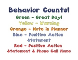 Behavior Color Chart Plus Positive Action Statement
