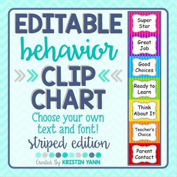 Behavior Clip Chart: Stripes *EDITABLE*