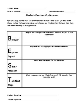 Behavior Conference Form