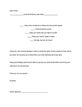 Behavior Consequence Letter for Parents- English and Spanish