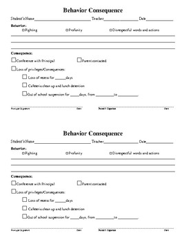Behavior Consequences 2