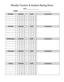 Behavior Contract Point Sheet Weekly Teacher and Student Rating Form