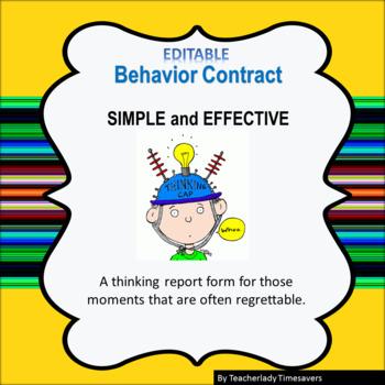 Behavior Contract Report Form Editable!