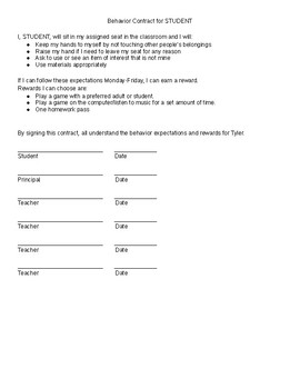 Behavior Contract and Behavior Data Collection Template