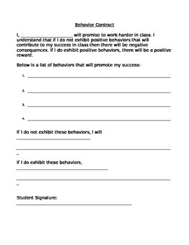 Behavior Contract and Tracking Sheet
