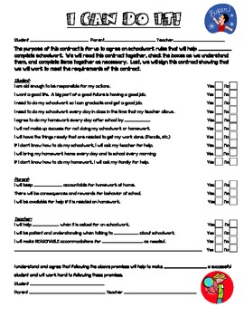 Behavior Contract for Student, Parent, and Teacher
