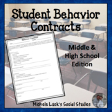 Behavior Contract for Students Middle or High School Appropriate