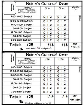 Behavior Contract for Upper Elementary Grades