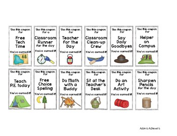 Behavior Coupon Incentives - Camping Themed