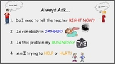 Behavior Cue Cards Tattling Questions